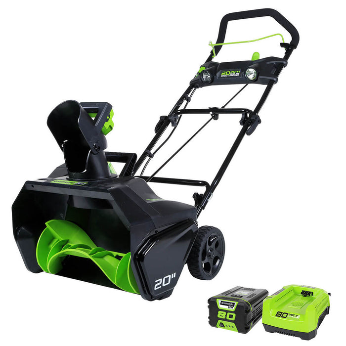 GreenWorks 2600402 80-Volt 20-Inch 2Ah Lithium-Ion Cordless Snow Thrower Kit