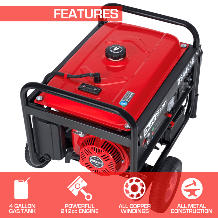 DuroStar DS4400E 4400-Watt 7-Hp Electric Start OHV Gas Generator w/Wheel Kit