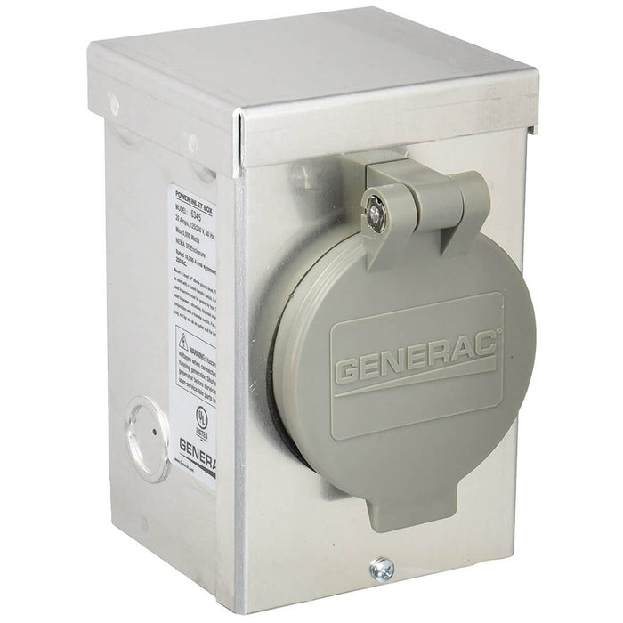 Generac 6345 120/240-Volt 20-Amp Aluminum Power Inlet Box W/ Spring-Loaded Flip Lid