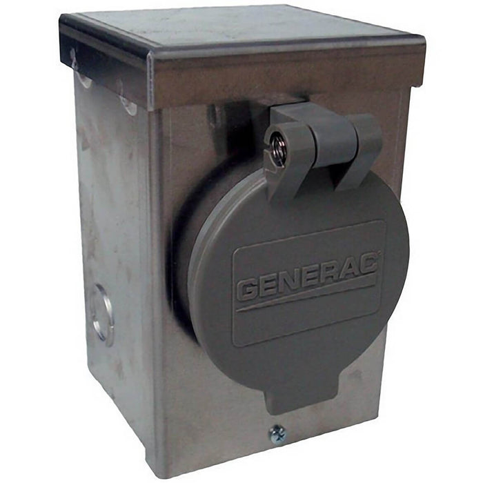 Generac GNC-6346 30 Amp 125/250 V Aluminum Power Inlet Box W/ Spring-Loaded Flip Lid