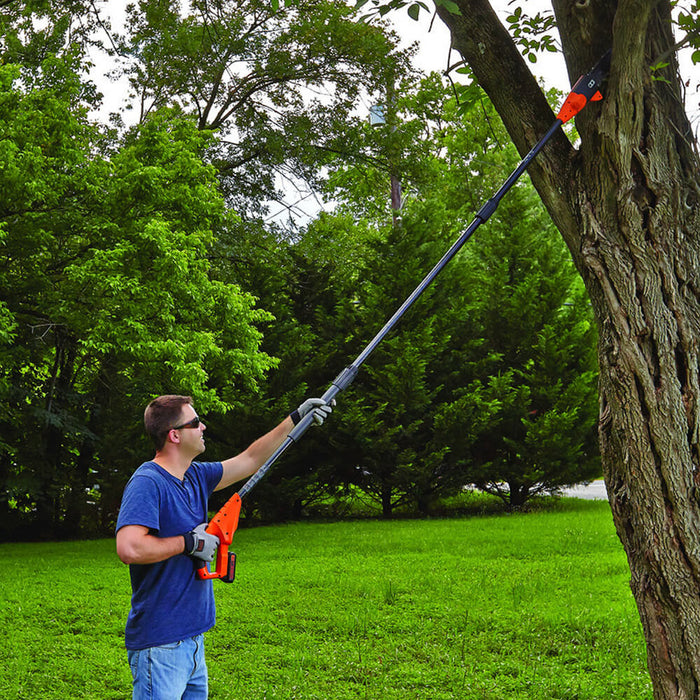 zoom out shot of cutting a branch with Black and Decker LPP120 Pole Saw
