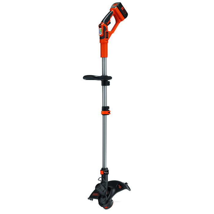vertical side view of the Black and Decker LST136R String Trimmer