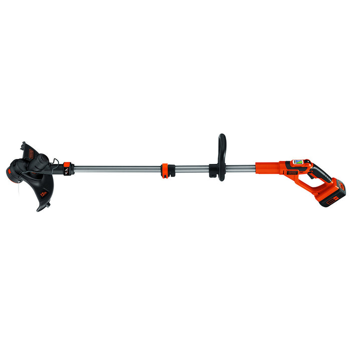 horizontal side view of the Black and Decker LST136R String Trimmer