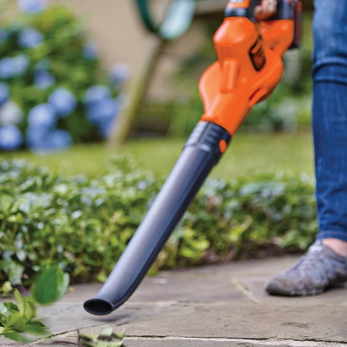 person using the Black and Decker LSW321 Leaf Blower in the yard