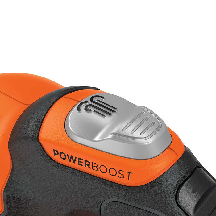 up close view of the controls of the Black and Decker LSW321 Leaf Blower