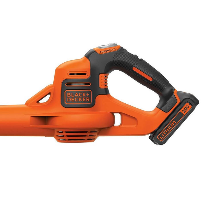 the side view of teh Black and Decker LSW321 Leaf Blower handle