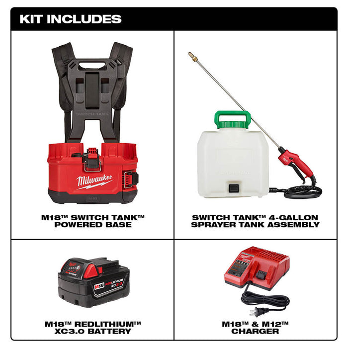 Milwaukee 2820-21PS M18 18V 4 Gallon Switch Tank Backpack Sprayer Kit