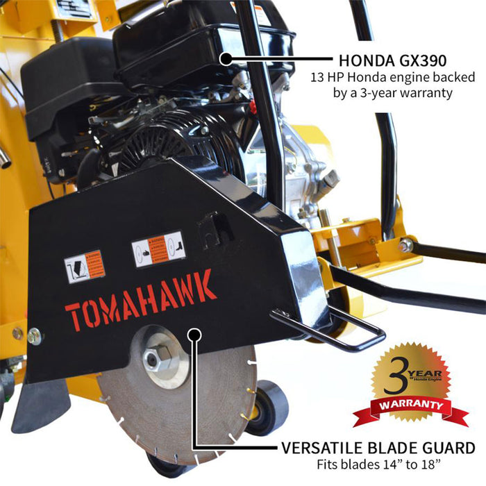 "Tomahawk Power TFS18H 18"" 13 HP GX390 Honda Walk Behind Concrete/Asphalt Saw"