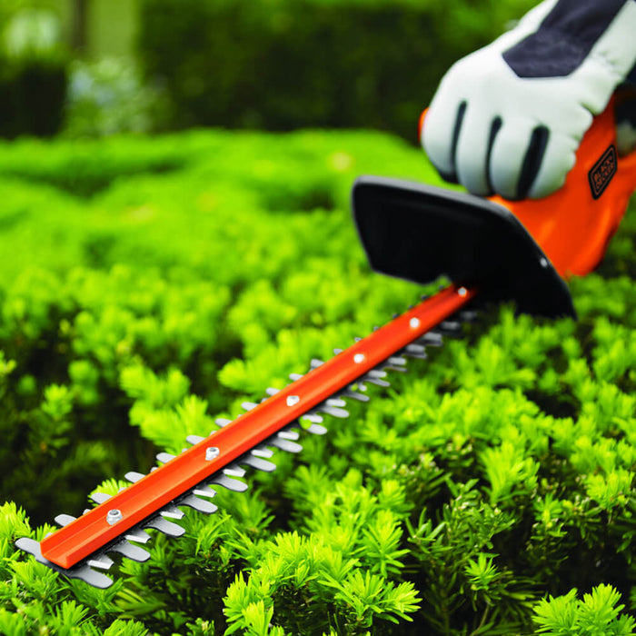 close up of trimming a bush with the TR117 black and decker hedge trimmer