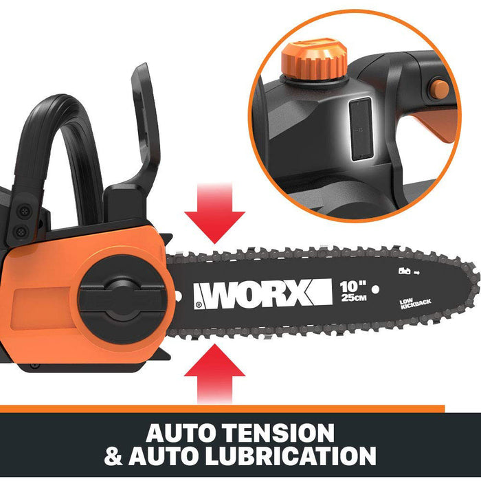 "WORX WG323 20V 10"" Lithium-Ion Cordless Pole/Chain Saw w/ Auto-Tension"