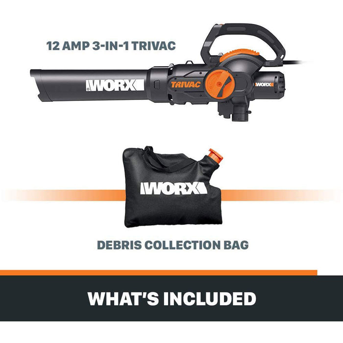 WORX WG512 12-Amp 600-CFM Corded Electric Two Speed Blower/Mulcher/Yard Vacuum