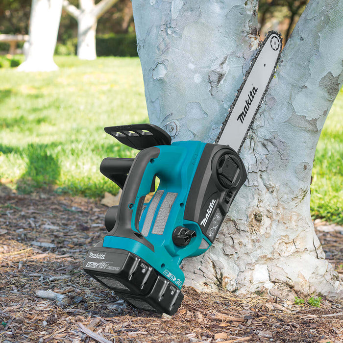Makita XCU02PTX1 36-Volt 12-Inch LXT Lithium-Ion Chainsaw Kit and Angle Grinder
