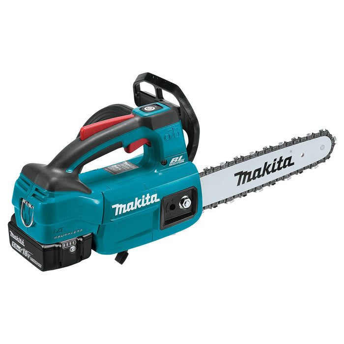 Makita XCU06T 18 Volt 10 Inch 5.0Ah LXT Brushless Top Handle Chain Saw Kit