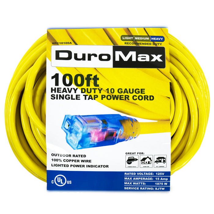 DuroMax XPC10100A 100-Foot 10 Gauge Single Tap Extension Power Cord