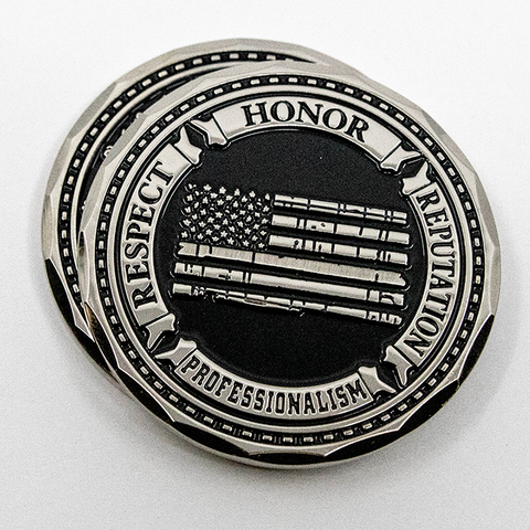 Thin Grey Line Distress Flag, Respect, Honor, Reputation, Professionalism, Correction Officer Prayer Challenge Coin