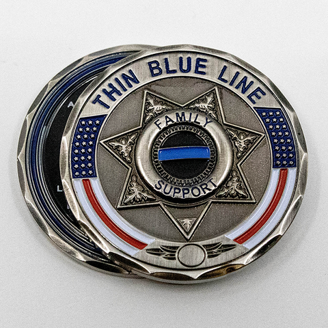 Thin Blue Line 7 Point Star Family Support Challenge Coin