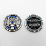 Heroes Live Forever Thin Blue Line Ribbon Policeman's Prayer Challenge Coin
