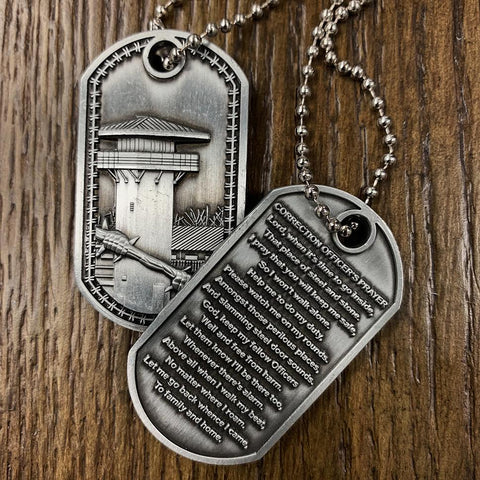 Correction Officer's Prayer Brushed Steel Dog Tag (Stocking Stuffer)