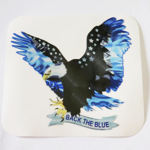 Back The Blue Thin Blue Line Flying Eagle Banner  Reflective Decal