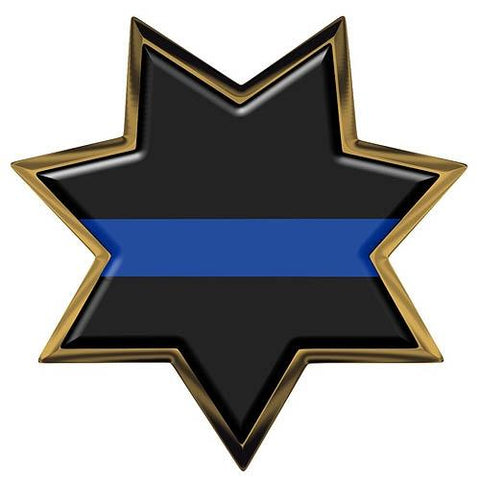 Thin Blue Line 7 Point Star Reflective Decal