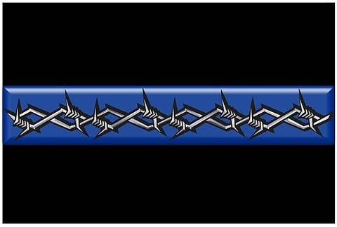 Thin Blue Line Barbed Wire Rectangle Reflective Decal