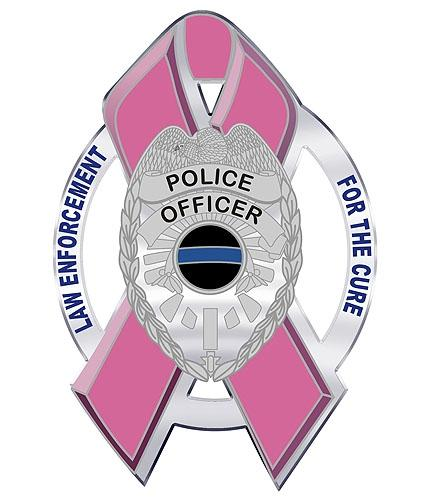 Law Enforcement For the Cure Pink Ribbon Shield Reflective Decal