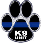 Silver  K-9  Thin Blue Line Paw Reflective Decal