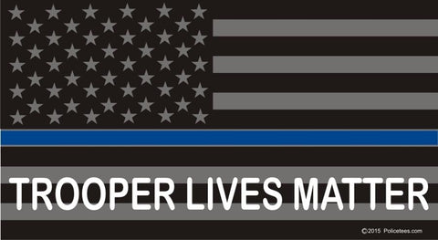 Thin Blue Line Flag:  Trooper Lives Matter Reflective Decal