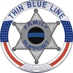 Thin Blue Line Family Support 6 Point Star  Reflective Decal
