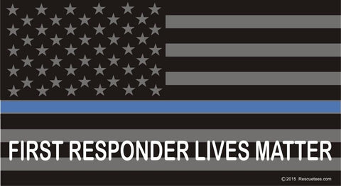 Thin Blue Line Flag: First Responders Lives Matter Reflective Decal