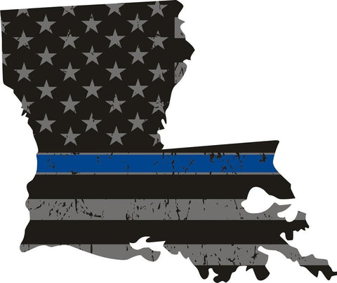 Louisiana: Thin Blue Line Distress Flag Louisana State Decal