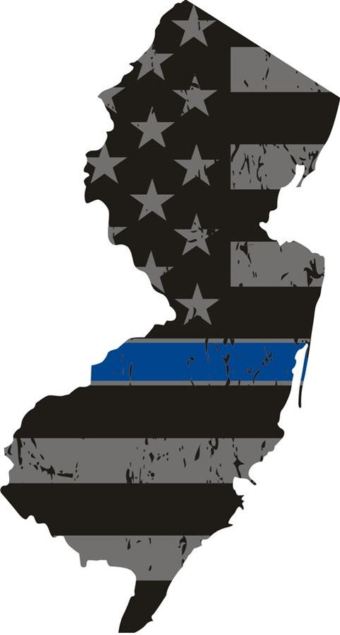 New Jersey: Thin Blue Line Distress Flag New Jersey State Decal