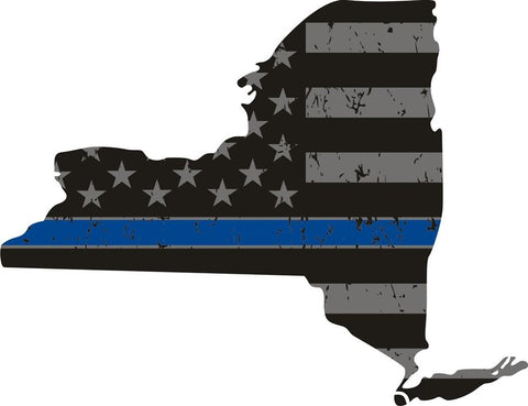 New York: Thin Blue Line Distress Flag New York State Decal
