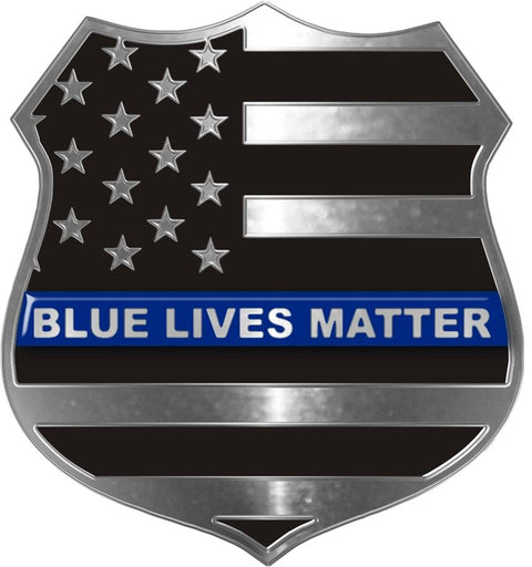 Blue Lives Matter™ Thin Blue Line Metallic Shield Decal