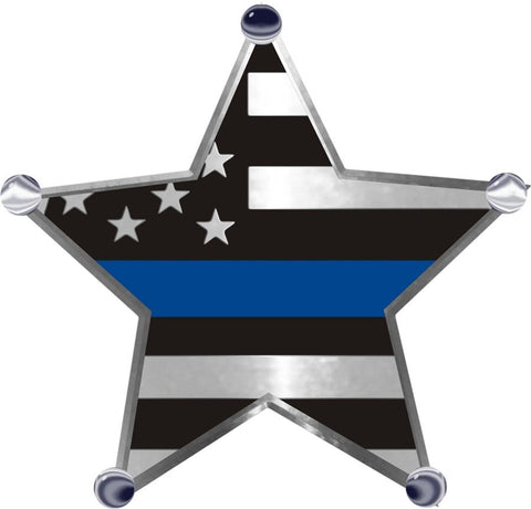 Thin Blue Line Flag 5 Point Star Metallic  Reflective Decal