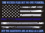 The Wicked Flee But The Righteous Are Bold As A Lion American Thin Blue Reflective Decal