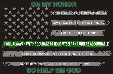 On My Honor American Thin Green Line Flag Reflective Decal