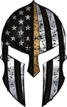 Warriors Bleed Gold Spartan Helmet Metallic Thin Gold Line Decal
