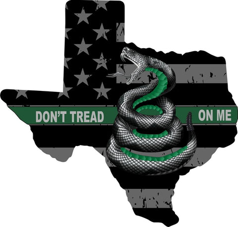 Don't Tread On Me Thin Green Line Texas State Reflective Decal