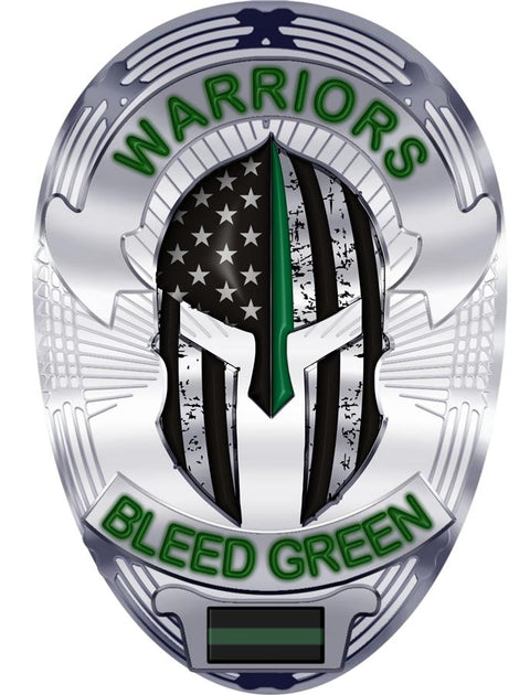 Warriors Bleed Green Spartan Helmet Thin Green Line  Reflective Decal