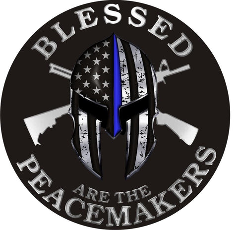 Thin Blue Line Blessed Are The Peacemakers Spartan Metallic Decal