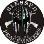 Thin Green Line Blessed Are The Peacemakers Spartan Metallic Decal