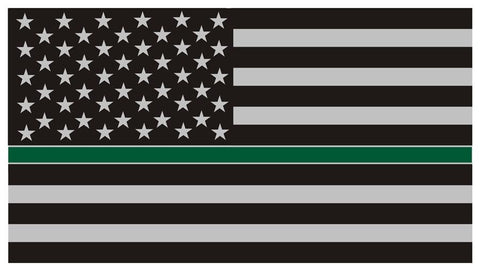 Thin Green Line Subdued American Flag Decal