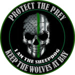 Thin Green Line I Am The Sheepdog Protect The Prey Decal