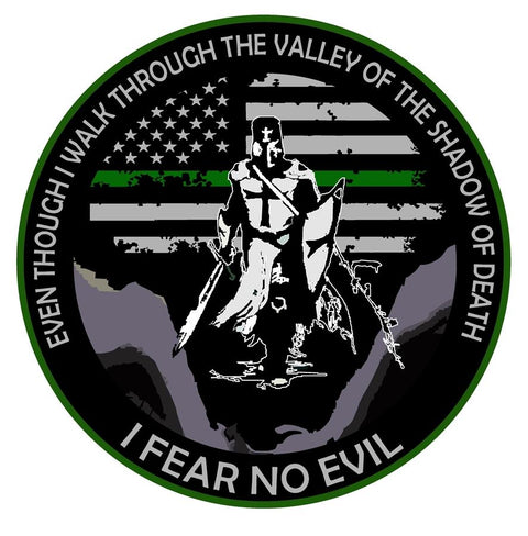 Thin Green Line I Fear No Evil Templar Knight Decal