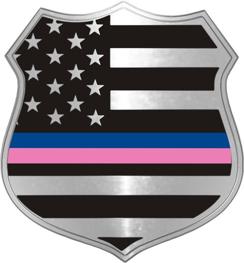 Thin Blue and Thin Pink Line Cancer Support Metallic Officer's Shield Decal