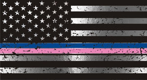 Thin Blue and Thin Pink Line Metallic American Flag Decal