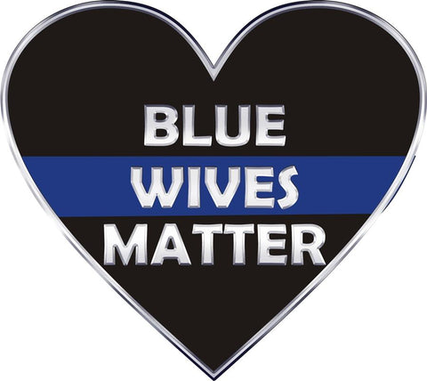 Thin Blue Line Heart Blue Wives Matter Decal