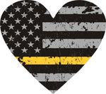 Thin Gold Line Distressed U.S. Flag Reflective Heart Decal