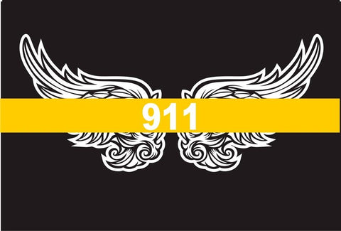Thin Gold Line 911 Angel Wings Reflective Decal